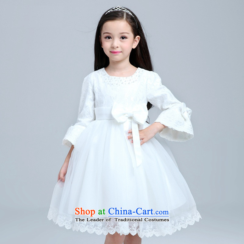 M high state of autumn and winter 2015 princess skirt girls children will dress girls long-sleeved dresses wedding dress for winter bon bon skirt White 120