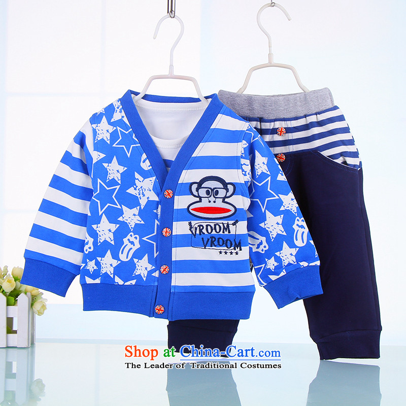 The boy three long-sleeved autumn kit sports wear boys out service 1-year-old baby 2 years 3 years old casual clothing 07044. Light Blue 100