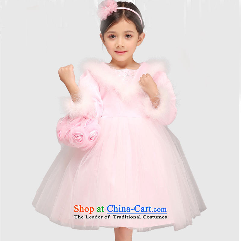 Flower Girls dress girls princess skirt long-sleeved winter folder cotton children wedding birthday performances bon bon skirt pink120cm
