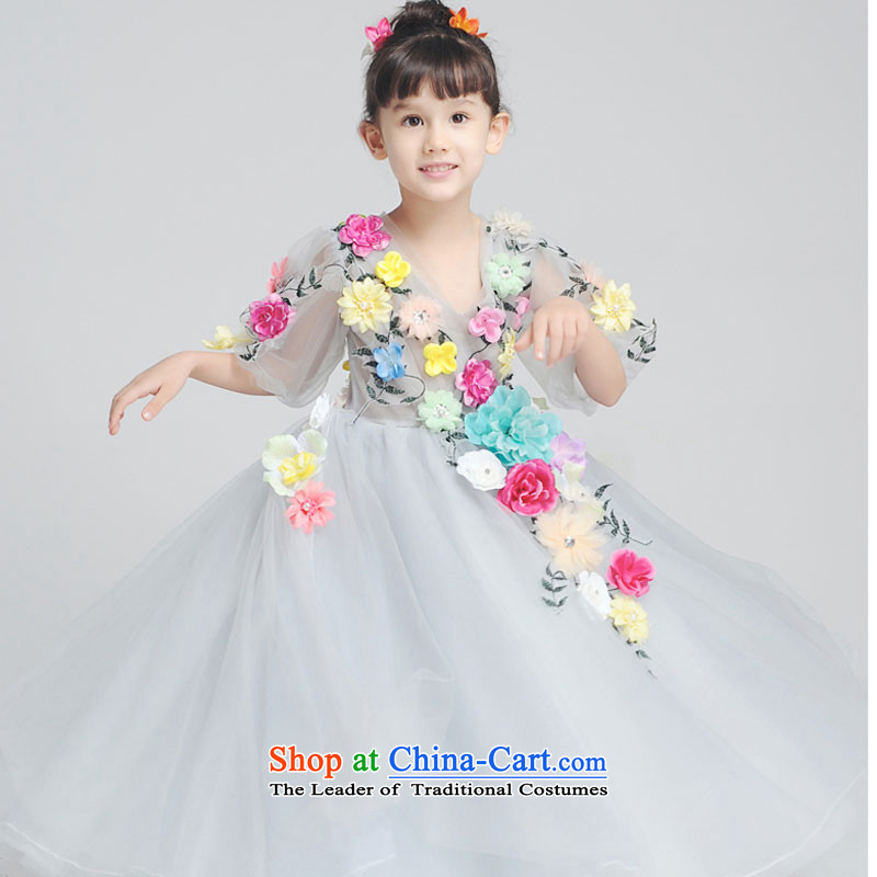 Children's wedding dress Flower Girls Flower Fairies  children's wear girls princess skirt kids bon bon skirt Halloween picture color will 150cm