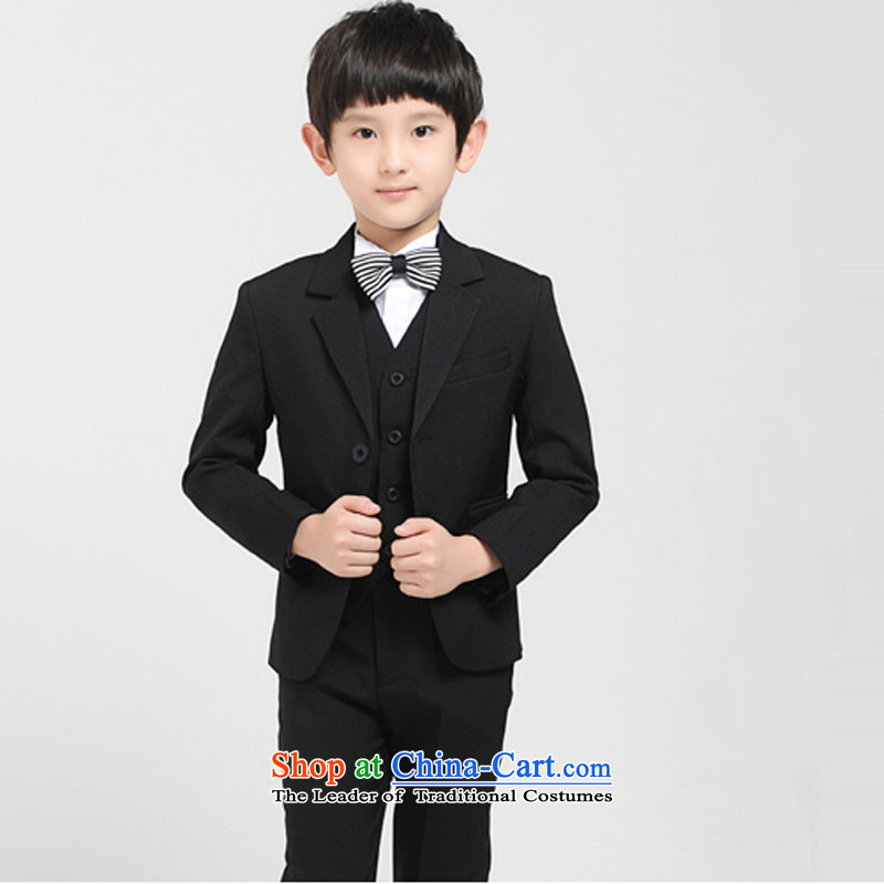 Small children jacket with boys autumn and winter suits dress Korean Flower Girls Dress Casual suits Black 4 piece140cm
