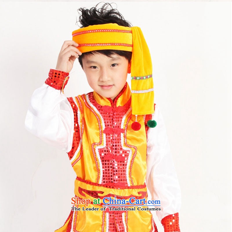 The Hmong minority costumes children boy wearing cucurbit theatrical performances clothing Dai Dance Services Yellow 160cm