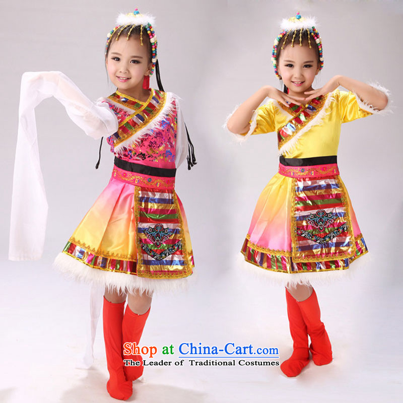 Children of minority children costumes will unveil Mongolian dance Tibetan girls sleeves show Red Dress Short-sleeved 160cm