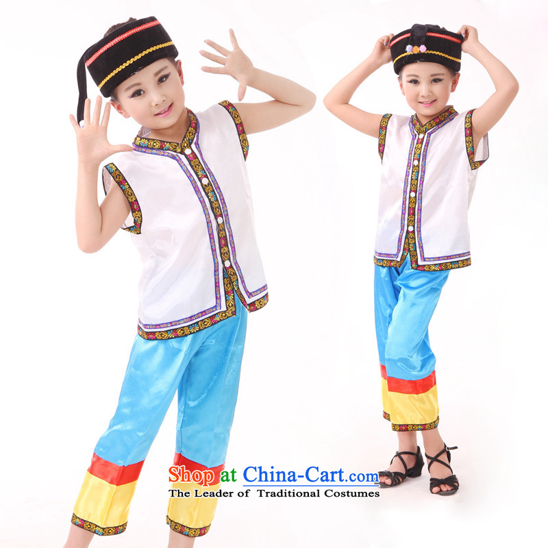 Yunnan ethnic minority children zhuang nationality costumes male children of the Hmong minority costumes cucurbit performances will white 140cm