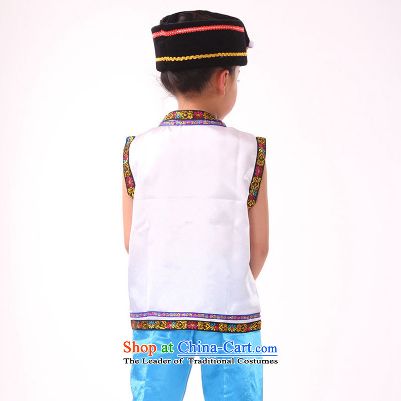 Yunnan ethnic minority children zhuang nationality costumes male children of the Hmong minority costumes cucurbit performances will adjust 140cm, white leather case package has been pressed shopping on the Internet