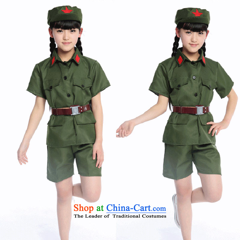 The red guards of the revolution in military uniforms short-sleeved clothing children Red Army for the liberation of the Cultural Revolution costumes Dress Photography Green聽150cm