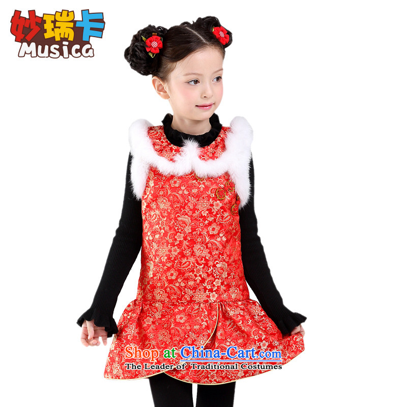 The girl child for autumn and winter, qipao Tang dynasty princess skirt children will add long-sleeved cotton dance services dresses red opening laugh 160