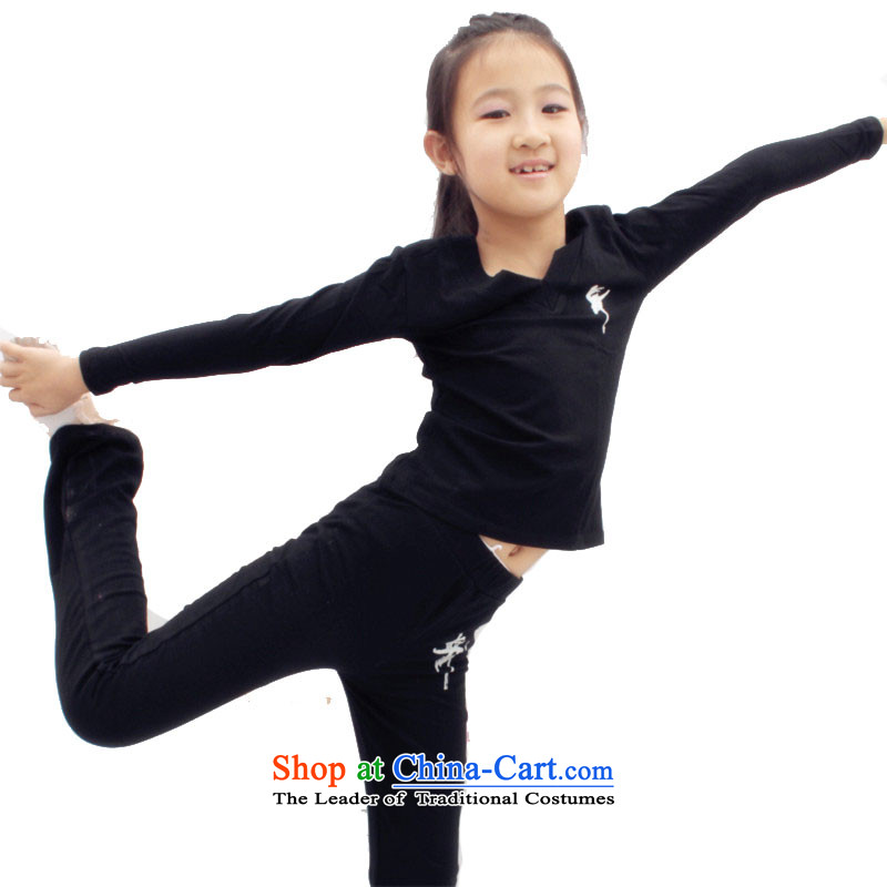 The boys and girls dancing wearing the lint-free exercise clothing children Latin dance children's long-sleeved autumn and winter not lint-free package printing聽card 4 cotton Kit聽140cm