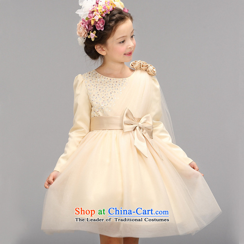 M high state of children's wear clothing girls children children will dress Flower Girls wedding dress聽2015 autumn and winter Princess girls skirt Champagne grand prix golden teak colored yarn聽160