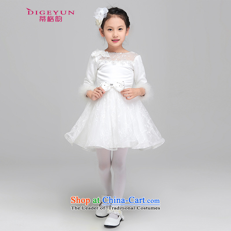 The following autumn and winter, children dress princess skirt girls dress performances dress bon bon skirt long-sleeved thick Flower Girls dress white 80