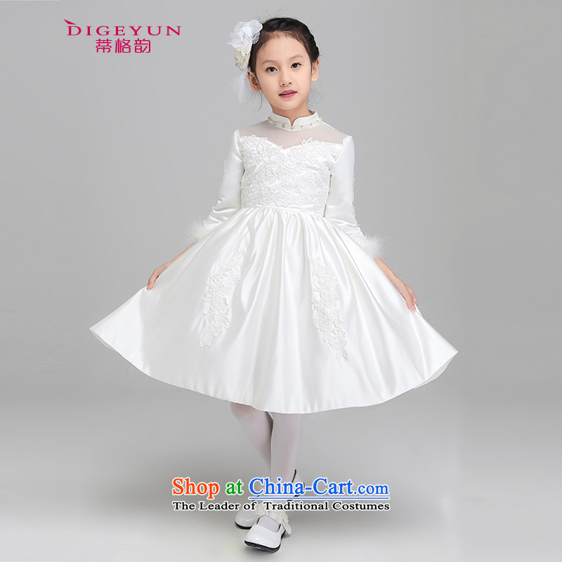 The following autumn and winter, long-sleeved gown princess skirts children thick girls dress performances dress bon bon skirt Flower Girls wedding dresses white winter_聽130