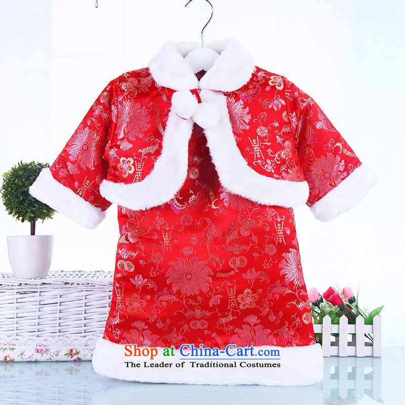 The girl child, children qipao autumn and winter Tang dynasty dress owara baby winter clothing cheongsam dress will aged 2-3-4 Red 110
