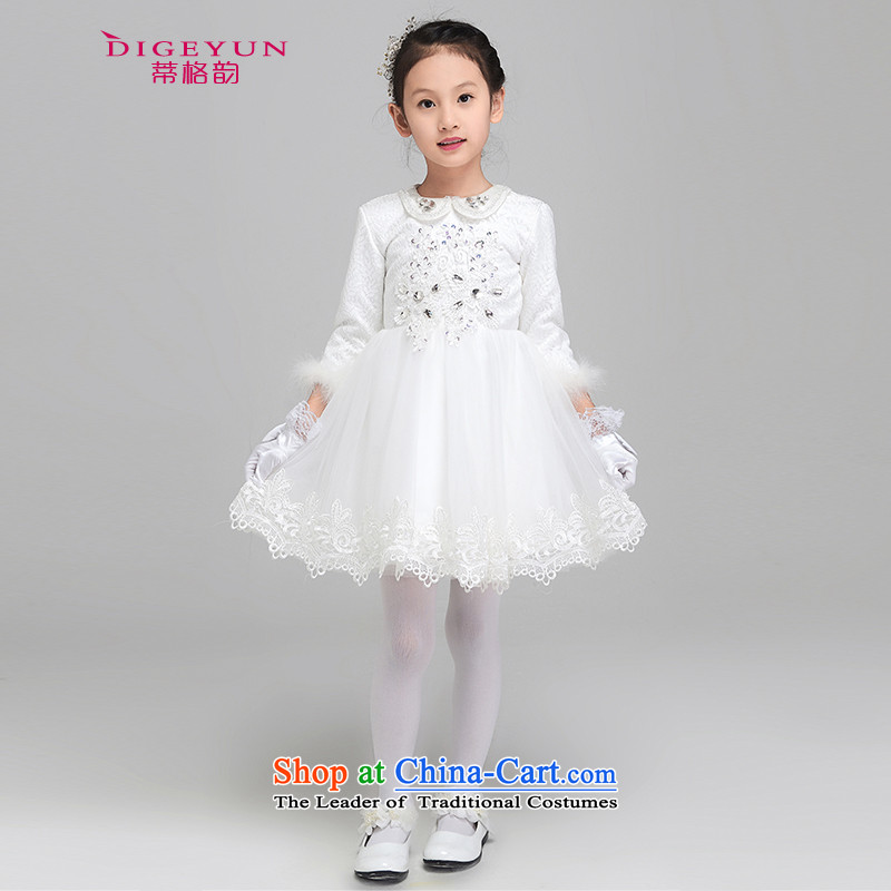 The following new paragraph 2015 winter Princess dress skirts children girls performed a long-sleeved gown thickened dress Flower Girls dress bon bon skirt White 150