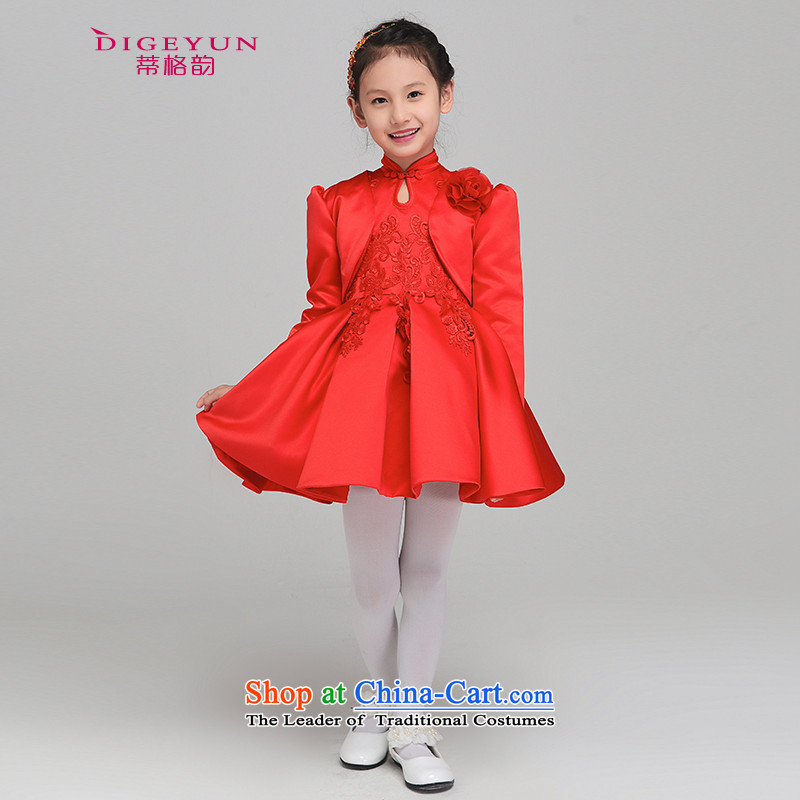 The following new paragraph 2015 autumn and winter, children dress princess skirt girls performed a long-sleeved gown shawl dress Flower Girls dress bon bon skirt dress shawl Kit 130