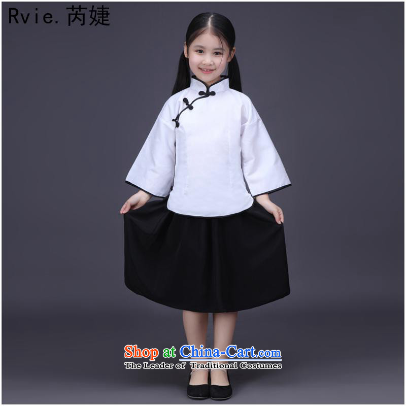 The little girl children's classical 4 May young women of the Republic of Korea student uniforms kit performances showing the choral dance Stage Costume on white cotton under high-Wire Po?140cm