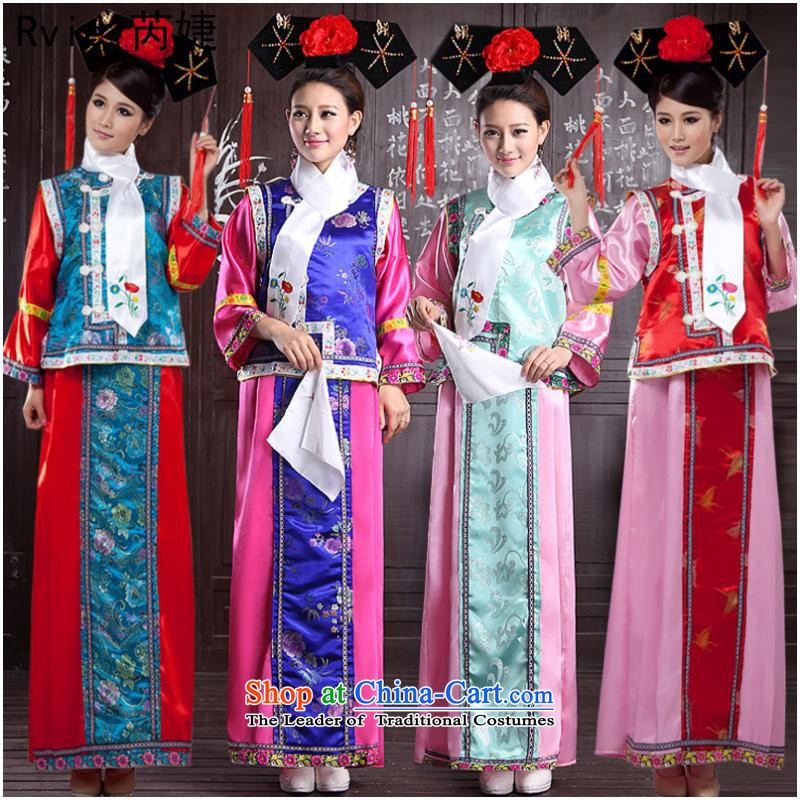 The Qing dynasty Princess Returning Pearl gungnyeo load flag clothing costume service performance stage costumes giggling Martins clothing hat with light green vest powders are code