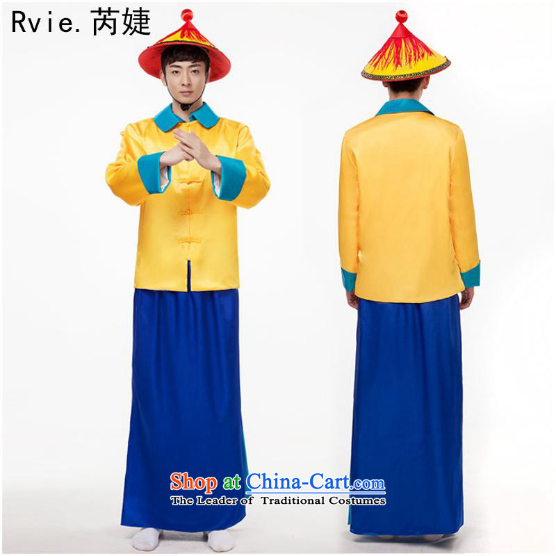 Stage Costume clothing male officers and men of the Qing dynasty bodyguards ancient costumes 閿﹁。鍗� Eunuchs in the Ming Dynasty Show T-shirt + skirt guard + hats are code
