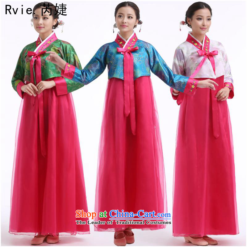 The Korean national costumes dance of the Korean court bride traditional Korean clothes stage costumes Dae Jang Geum blue T-shirt red petticoat聽L