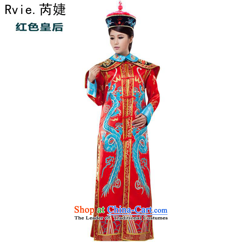 Through the drama of the Qing Dynasty, Ms. cos ancient costumes Queen's palace Huang Tai Hou Mi Gwi-goddess Lucina stage costumes are Code Red