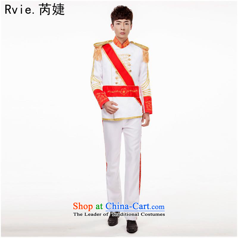Continental male palace with Da Shuai services drum gown black and white uniform prince service performances of fashion photography white L