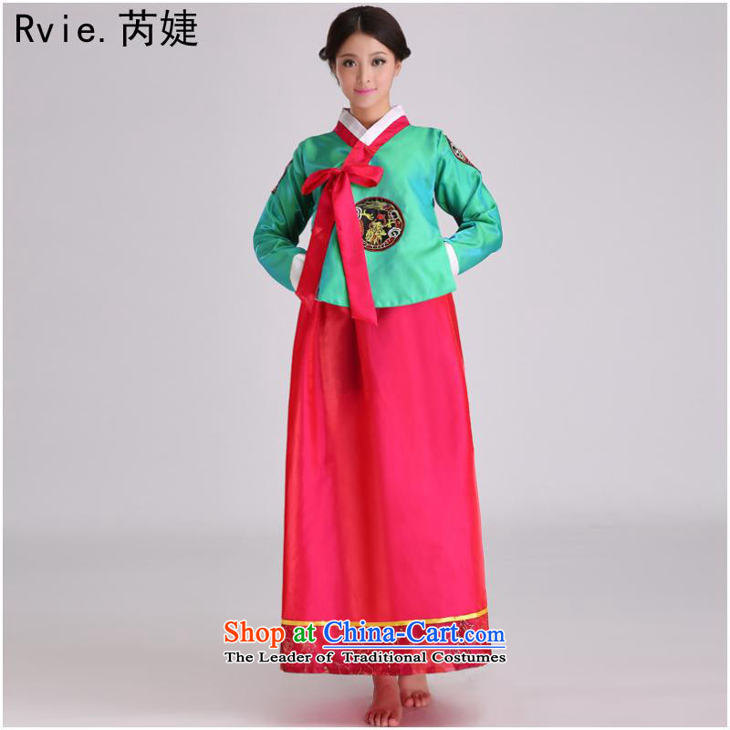 Korean traditional palace, the DPRK's hanbok ethnic dances performances showing the Stage Costume 4 Color on the Green Red M