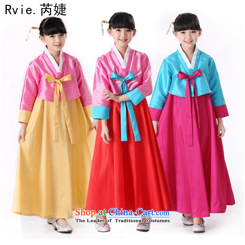 The new little girl children Korean traditional Korean Hanbok minority stage dance performances for clothing under the blue of the Red 5.30