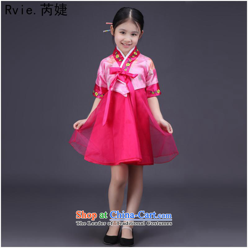 61 new dress short-sleeved little girl children traditional Korean clothes kit Korean nation stage performances showing the toner on the rehabilitation of the Red5.30
