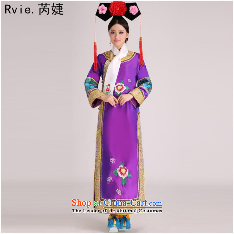 The Qing dynasty costume Queen Inhyeon sub-jin Gwi-small home Manju flag with civilian clothes show up Stage Costume purple are code
