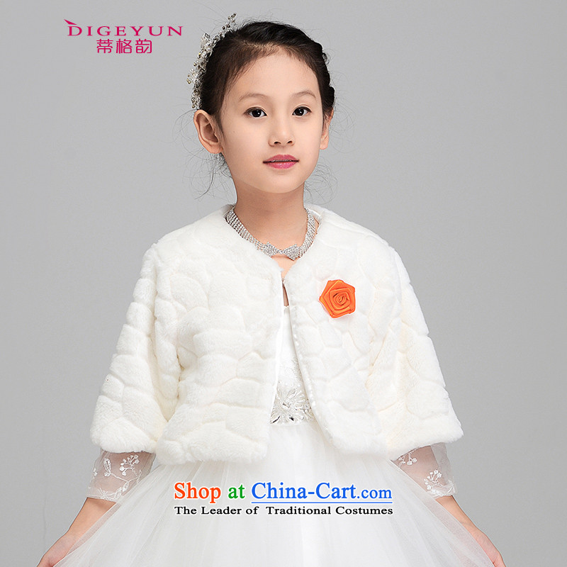 The following new children's gross shawl thick Korean children dress shawl Flower Girls, a winter of dress, a 140cm L 9-12 years old white