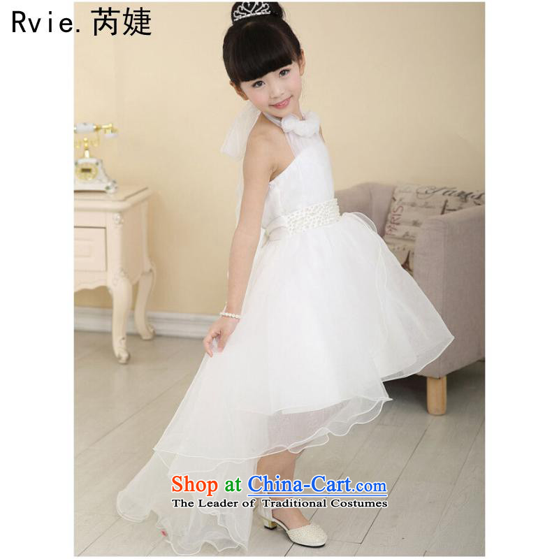 The girl child wedding dress owara photography clothing children program host show kids piano dresses skirt Princess White?160cm