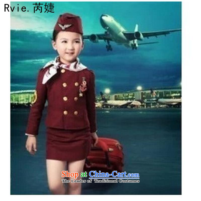 Children photography clothing small air hostesses uniformed show apparel 4 piece set empty less air force children performances uniforms women wine red 120