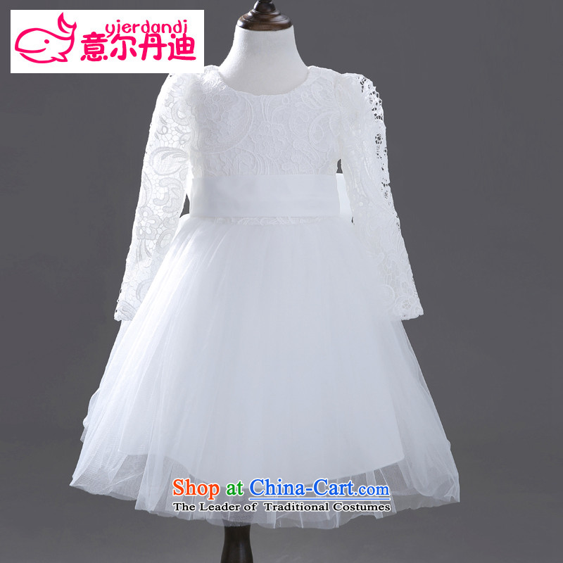 Dandi children's wear, to children dress girls princess skirt to live piano music services bon bon skirt Flower Girls wedding dress dress autumn and winter White 140