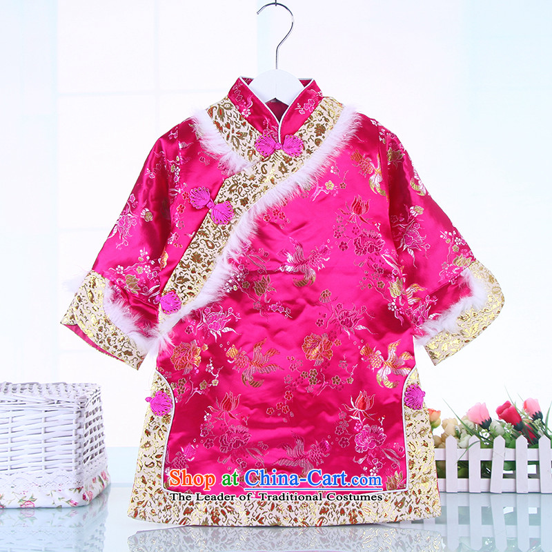 2015 Fall/Winter Collections new girls cheongsam long-sleeved Tang Gown cheongsam dress your baby in the Tang dynasty cheongsam dress Red 110