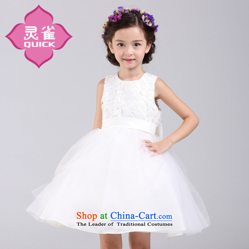 Children's wear girls New Princess will dress short-sleeved white flower girl children moderator wedding dresses little girl bon bon skirt the new short-sleeved white dress 160