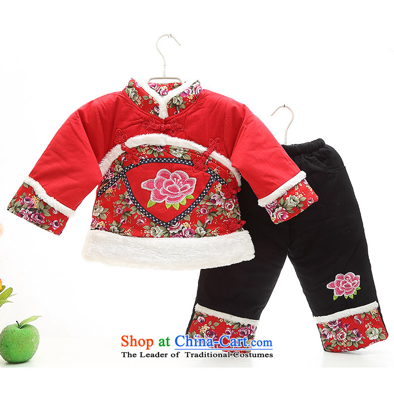 Children's wear girls Tang dynasty infant and child age photo clothing will dress your baby girl New Year festive cotton coat kit thick winter Red 120