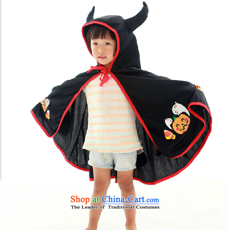 Halloween decorating props children's clothing horns demon cloak Dracula mantle girls demon black pumpkin not with fork 78 cm suitable for children over the age of 2.