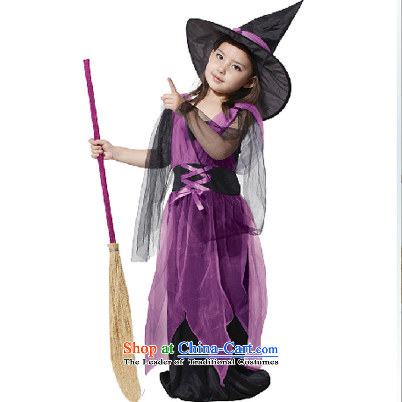 The girl child Halloween costume witch kit gauze witch clothing masquerade clothing purple does not include broom 130cm to 140cm
