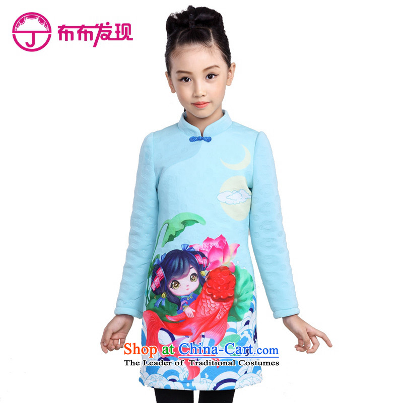 The Burkina found 2015 autumn and winter new girls qipao China wind stamp long-sleeved CUHK Tang dynasty qipao gown child children dress 34505169 mint green聽160 code