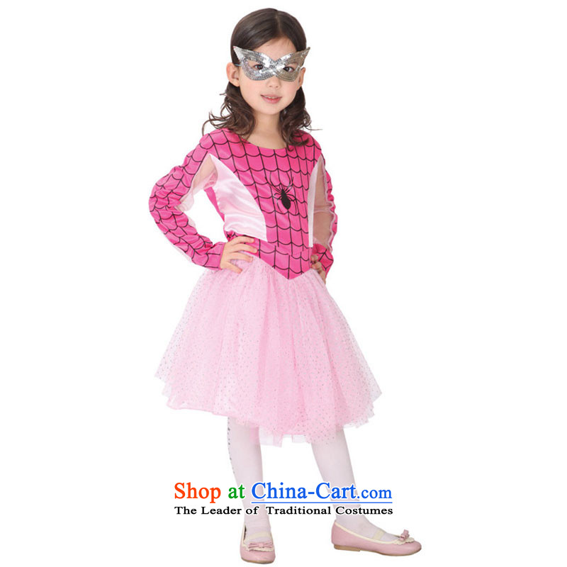 Halloween children's clothing pink Spider Woman show replace makeup ball-dress in red130-140