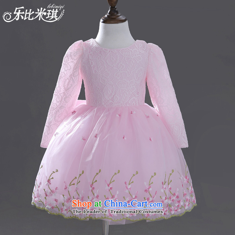 America than M Leung children dress girls long-sleeved princess skirt bon bon children's wear skirts autumn and winter dresses Flower Girls wedding dress dress pink 140