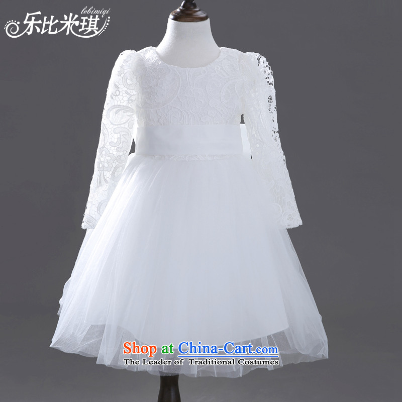 Children's apparel dress girls princess skirt birthday dress bon bon skirt Flower Girls wedding dress dress white autumn and winter White 140