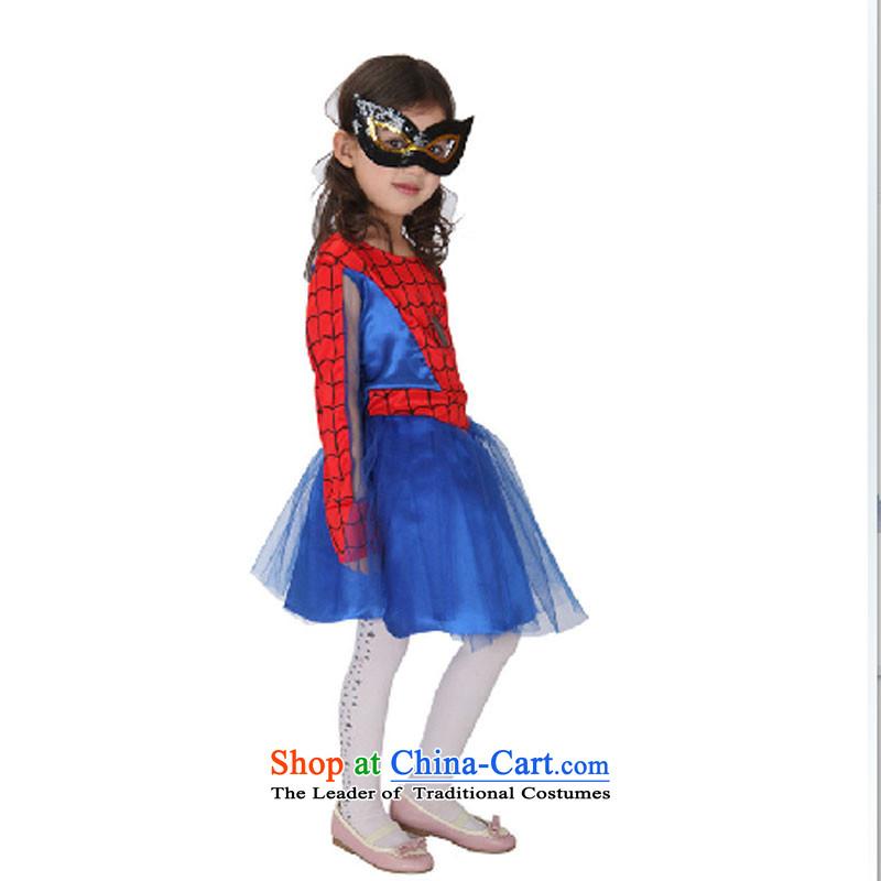 61 Children Halloween costumes female spider woman dress toner silver eye shield princess service pack blue packaged120cm-130