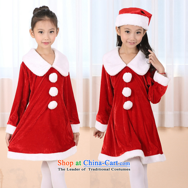 Million Children's entertainment for clothing Christmas girls princess skirt long-sleeved dresses to Christmas hats stage make-up will appear as the elderly for autumn and winter clothing new red good quality long-sleeved red 120-130cm40-50 catty
