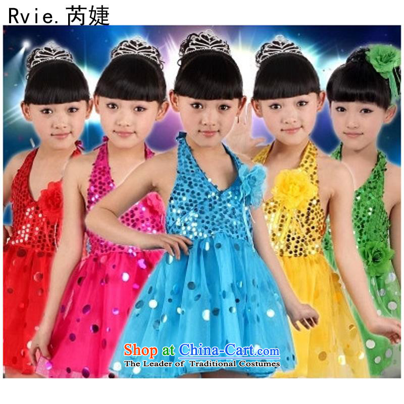61. Children will the new early childhood girls modern bright chip Latin dance dress bon bon skirt stage services Yellow 130cm