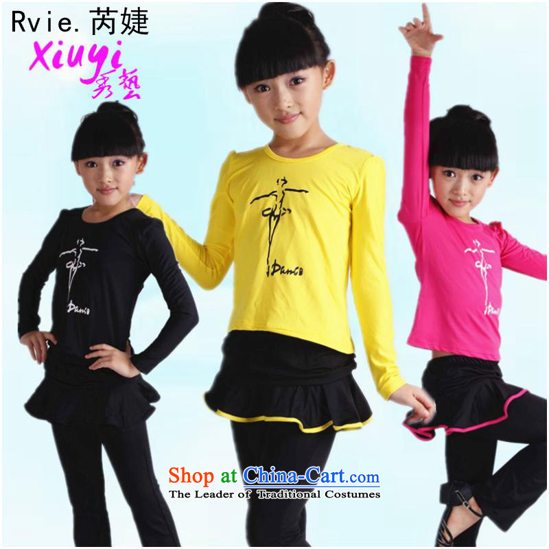Children exercise clothing girls Latin dance skirt the new Small and medium-sized child care of the spring and autumn icon in red costumes dance the lint-free of160cm