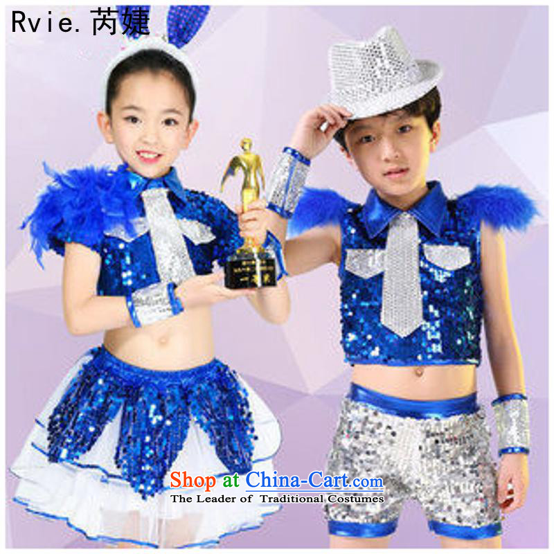 61. Children will show on the girl child care services are street children costumes dance performances jazz dance services women Blue 150cm