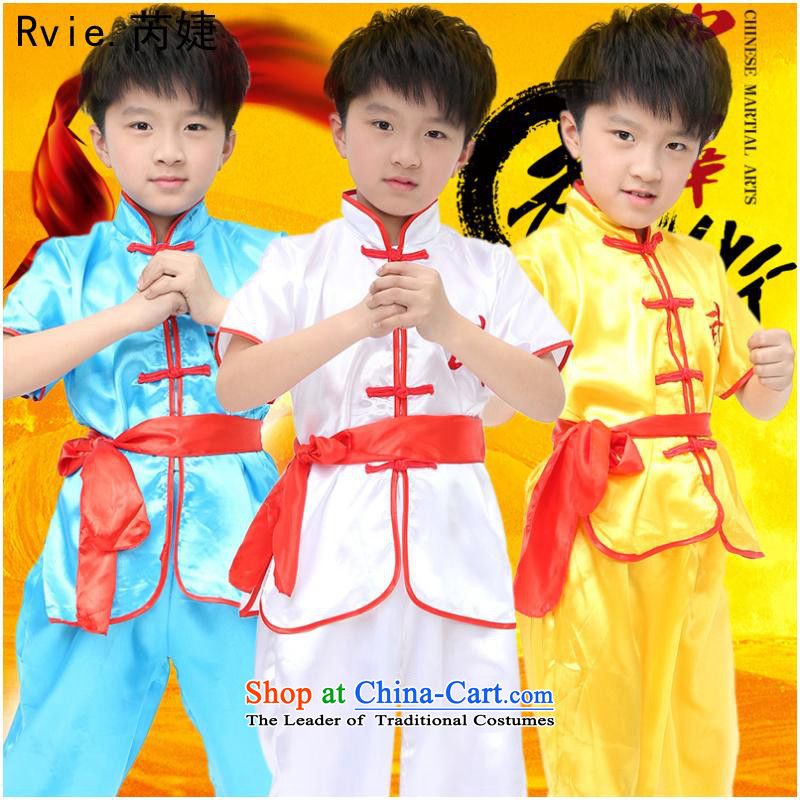 61. Children costumes short-sleeved exercise clothing kit boys will martial arts performances services team kit聽140cm blue Kung Fu