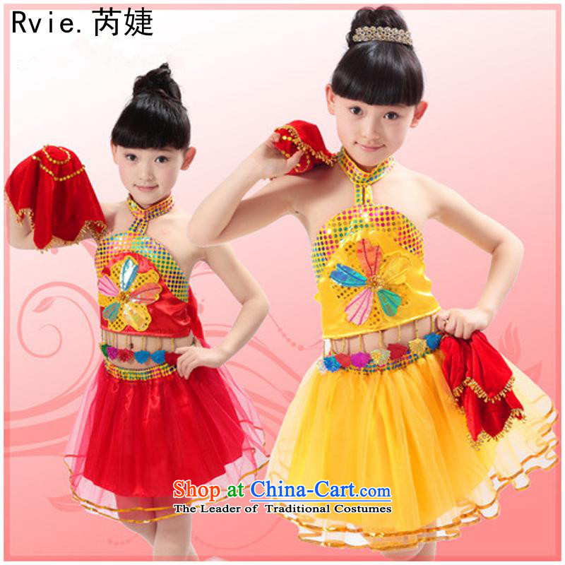 61. Children dance folk dance will dress girls handkerchief dance wearing early childhood girls stage costumes red110cm,