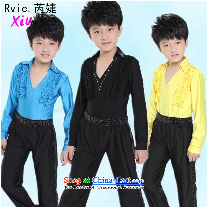 The boy Latin dance practitioners wearing the new children fall with long-sleeved Latin dance performances service kit costumes and black 140cm