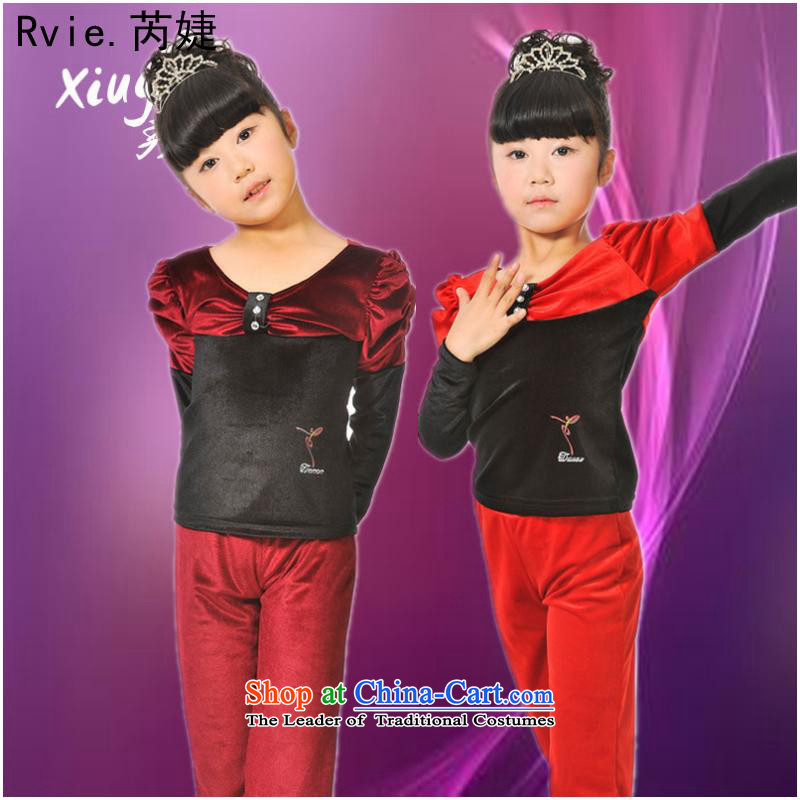 Children Dance exercise clothing autumn and winter girls Latin dance service kit new gold velour Shao Er Latin dance service long-sleeved red?5.30